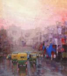 Cityscape Acrylic Art Painting title 'Good Morning Kolkata II' by artist Purnendu Mandal