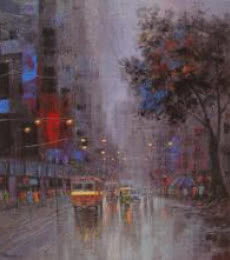 Monsoon Shower | Painting by artist Purnendu Mandal | acrylic | Canvas