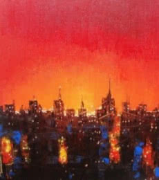 Night In City | Painting by artist Purnendu Mandal | acrylic | Canvas