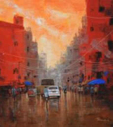 Orange Sky | Painting by artist Purnendu Mandal | acrylic | Canvas