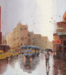 Cityscape Acrylic Art Painting title 'Rainy Day In Kolkata II' by artist Purnendu Mandal