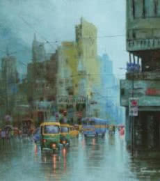 Rainy Day In Kolkata II | Painting by artist Purnendu Mandal | acrylic | Canvas