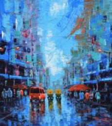 Cityscape Acrylic Art Painting title Rainy Street by artist Purnendu Mandal