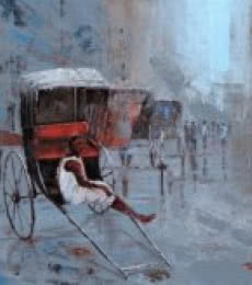 Cityscape Acrylic Art Painting title 'Rickshaw Puller In Kolkata' by artist Purnendu Mandal