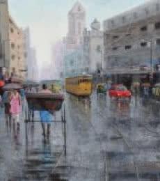 Cityscape Acrylic Art Painting title 'Rickshaw Puller In Kolkata 5' by artist Purnendu Mandal