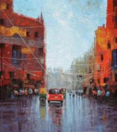Cityscape Acrylic Art Painting title Wet Street by artist Purnendu Mandal