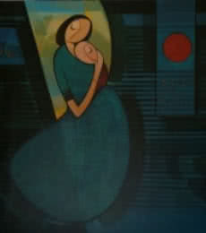 Dattatraya Thombare | Acrylic Painting title Mother And Child 1 on Canvas | Artist Dattatraya Thombare Gallery | ArtZolo.com