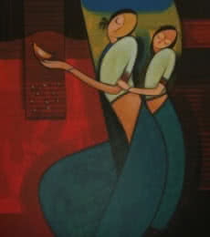 Figurative Acrylic Art Painting title 'Motherhood 1' by artist Dattatraya Thombare