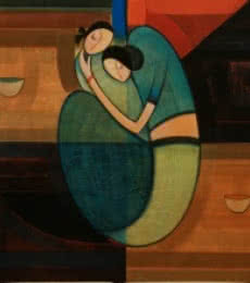 Motherhood 2 | Painting by artist Dattatraya Thombare | acrylic | Canvas