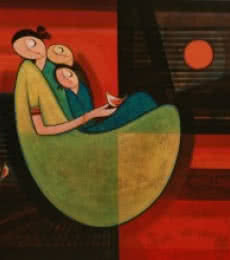 Dattatraya Thombare | Acrylic Painting title Motherhood 3 on Canvas | Artist Dattatraya Thombare Gallery | ArtZolo.com