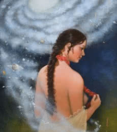 Figurative Acrylic Art Painting title Source of creation 2 by artist Mousumi Pal Majumdar
