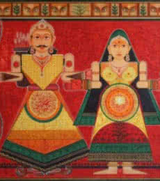 Satish Chavhan | Acrylic Painting title Raja Rani on Canvas Board | Artist Satish Chavhan Gallery | ArtZolo.com