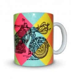 Bike Print Mug | Craft by artist Sejal M | Ceramic