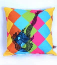 Designer Guitar Cushion   Craft by artist Sejal M   Canvas
