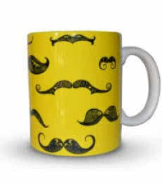Moustache Print Mug | Craft by artist Sejal M | Ceramic