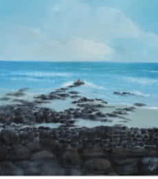 Landscape Oil Art Painting title 'Rocky Beach' by artist Persis Chhapkhanawalla