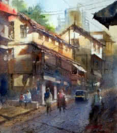 Sanjay Dhawale | Watercolor Painting title Morning at Thane on Handmade Paper | Artist Sanjay Dhawale Gallery | ArtZolo.com