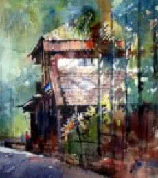 Landscape Watercolor Art Painting title Konkan House by artist Sanjay Dhawale