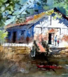 House at Pali | Painting by artist Sanjay Dhawale | watercolor | Handmade Paper
