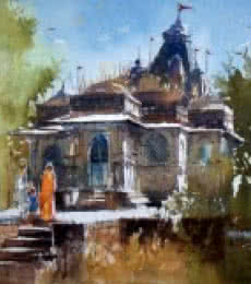 Old Temple | Painting by artist Sanjay Dhawale | watercolor | Handmade Paper