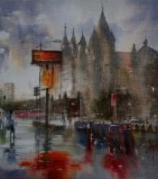 Sanjay Dhawale | Watercolor Painting title Dream City in Rain on Handmade Paper