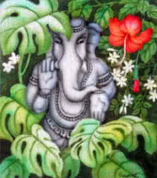 Vishwajyoti Mohrhoff | Airbrush Painting title Ganesha in Nature II on Canvas | Artist Vishwajyoti Mohrhoff Gallery | ArtZolo.com