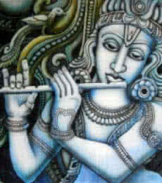 Religious Airbrush Art Painting title 'Krishna I' by artist Vishwajyoti Mohrhoff