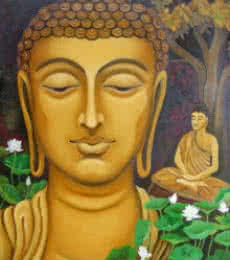 Religious Oil Art Painting title 'Buddha' by artist Vishwajyoti Mohrhoff