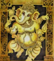 Religious Airbrush Art Painting title 'Dancing Ganesh Yellow' by artist Vishwajyoti Mohrhoff