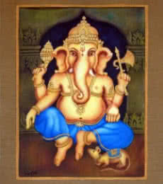 Blue Ganesha I | Painting by artist Vishwajyoti Mohrhoff | airbrush | Canvas