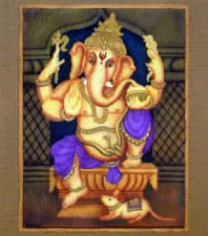 Religious Airbrush Art Painting title 'Purple Ganesha' by artist Vishwajyoti Mohrhoff