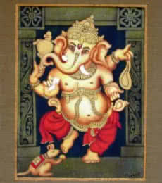 Vishwajyoti Mohrhoff | Airbrush Painting title Red Ganesha on Canvas