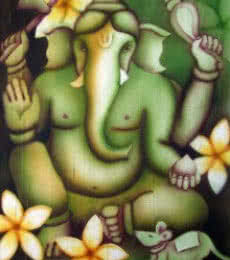 Religious Airbrush Art Painting title 'Green Ganesha' by artist Vishwajyoti Mohrhoff