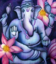 Religious Airbrush Art Painting title 'Blue Ganesha II' by artist Vishwajyoti Mohrhoff