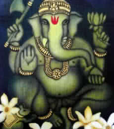 Golden Ganesha | Painting by artist Vishwajyoti Mohrhoff | airbrush | Canvas