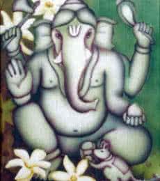 Religious Airbrush Art Painting title Green Ganesha II by artist Vishwajyoti Mohrhoff