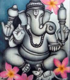 Religious Airbrush Art Painting title 'Grey Ganesha' by artist Vishwajyoti Mohrhoff