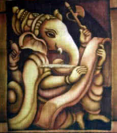 Religious Airbrush Art Painting title Writing Ganesha I by artist Vishwajyoti Mohrhoff