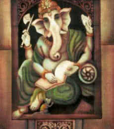 Religious Airbrush Art Painting title 'Writing Ganesha II' by artist Vishwajyoti Mohrhoff