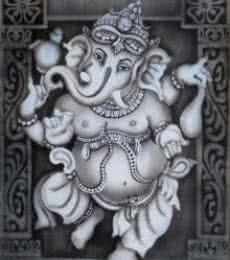 Dancing Ganesha | Painting by artist Vishwajyoti Mohrhoff | airbrush | Canvas