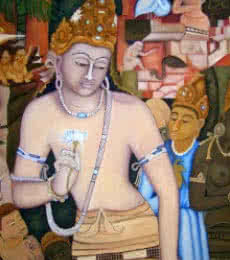Padmapani Ode To Ajanta | Painting by artist Vishwajyoti Mohrhoff | oil | Canvas