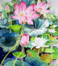 Photorealistic Watercolor Art Painting title Pink Lotus And White Water Lilies 2 by artist Vishwajyoti Mohrhoff