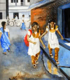 Figurative Watercolor Art Painting title 'School Chalein' by artist Vishwajyoti Mohrhoff