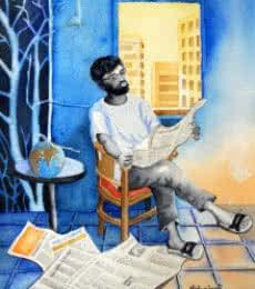 The Falling Globe   Painting by artist Vishwajyoti Mohrhoff   watercolor   Paper