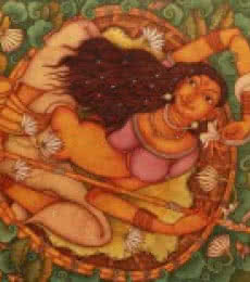 A Lady In The Lily Pond | Painting by artist Manikandan Punnakkal | acrylic | Canvas