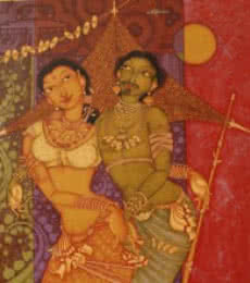Figurative Acrylic Art Painting title 'Tribal Couple' by artist Manikandan Punnakkal
