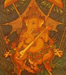 Figurative Acrylic Art Painting title 'Ganesha' by artist Manikandan Punnakkal