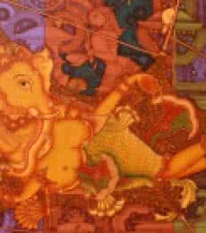 Ganesha Resting Mode | Painting by artist Manikandan Punnakkal | acrylic | Canvas