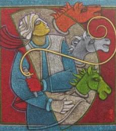 Horse Rider II | Painting by artist Satyajeet Shinde | acrylic | Canvas