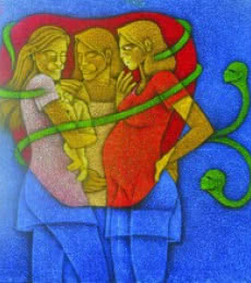 Motherhood | Painting by artist Satyajeet Shinde | acrylic | Canvas